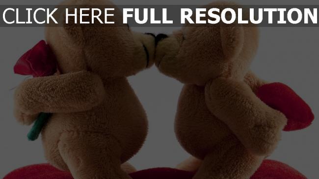 hd hintergrundbilder bären spielzeug paar küssen romantisch