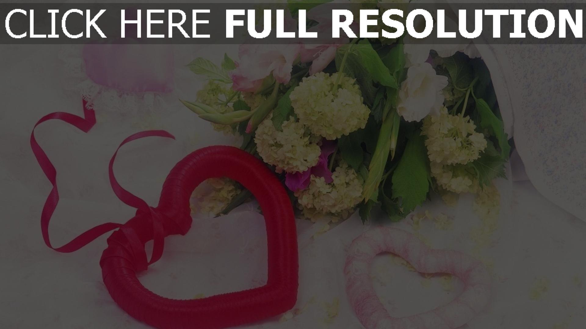 hd hintergrundbilder bouquet romanze herz hydrangea blumen 1920x1080