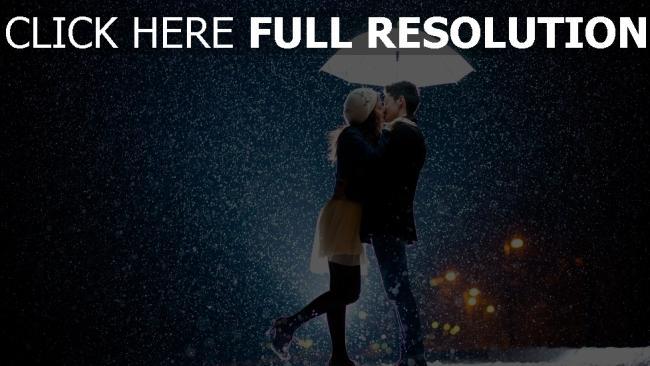 hd hintergrundbilder paar regen regenschirm küssen romantisch