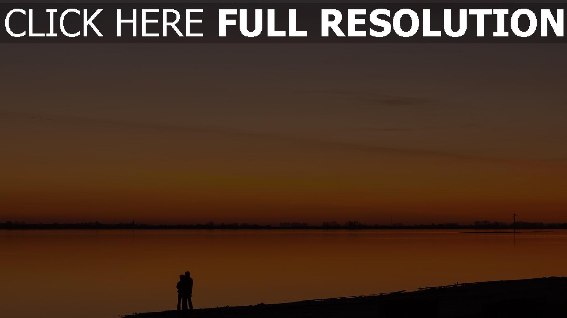 hd hintergrundbilder paar sonnenuntergang fluss strand romantik 1920x1080