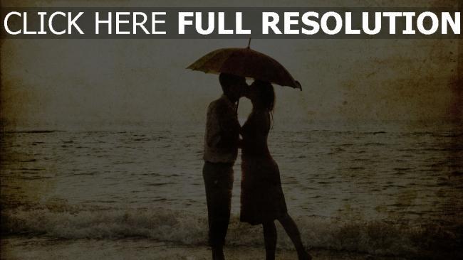 hd hintergrundbilder paar liebevollen kuss romantik meer