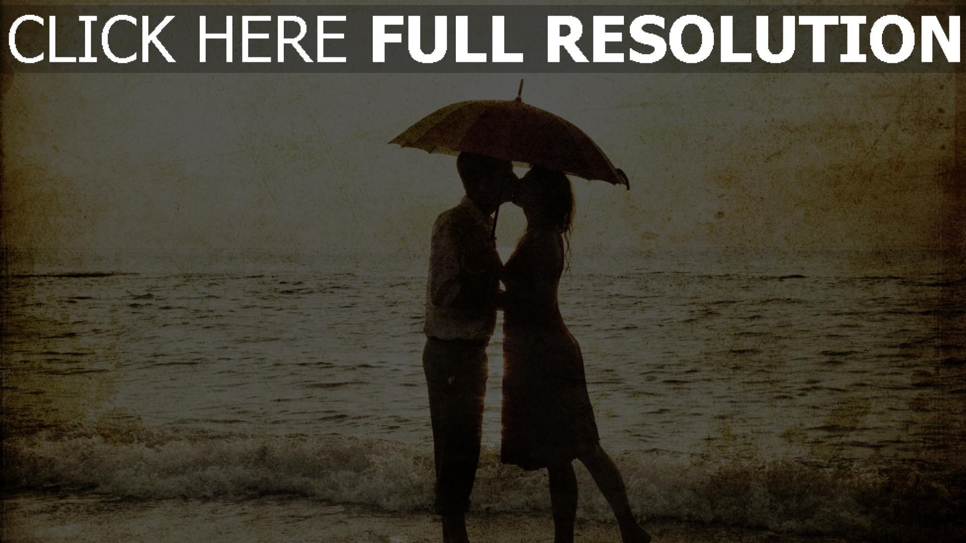 hd hintergrundbilder paar liebevollen kuss romantik meer 1920x1080