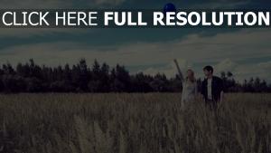 feld paar himmel ballon romantik