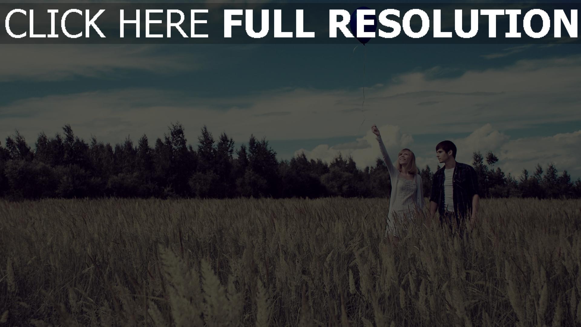 hd hintergrundbilder feld paar himmel ballon romantik 1920x1080
