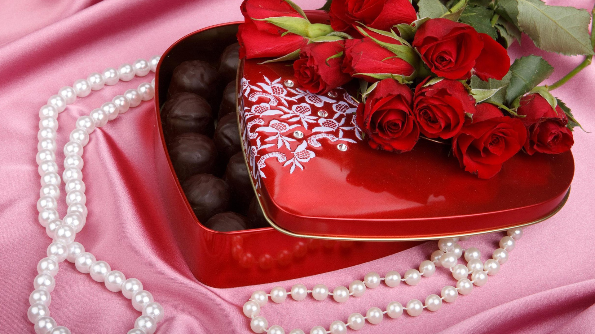 hd hintergrundbilder rosen blumenstrauß süßigkeiten perlen romantisch 1920x1080