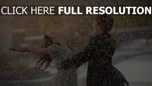 regen tropfen paar tanz freude romantik