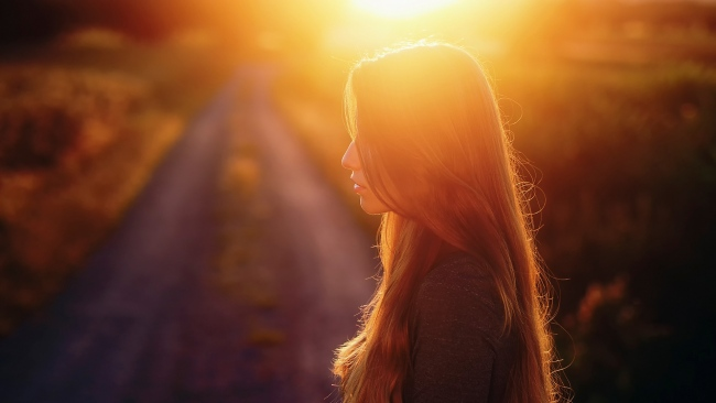 hd hintergrundbilder haar sonnenuntergang profil mädchen