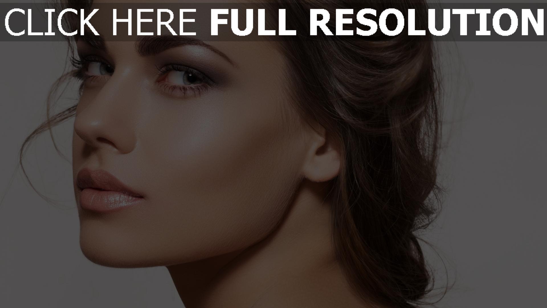 hd hintergrundbilder make-up modell gesicht blick brünett 1920x1080