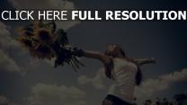 glück himmel sonnenblumen feld