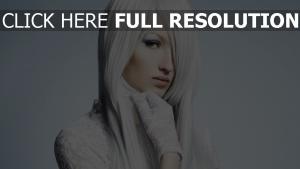 blond haar weiß handschuhe spitzen