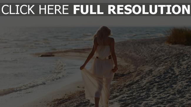 hd hintergrundbilder mädchen kleid strand meer wellen