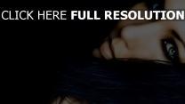 blick make-up haare schwarz gesicht nahaufnahme