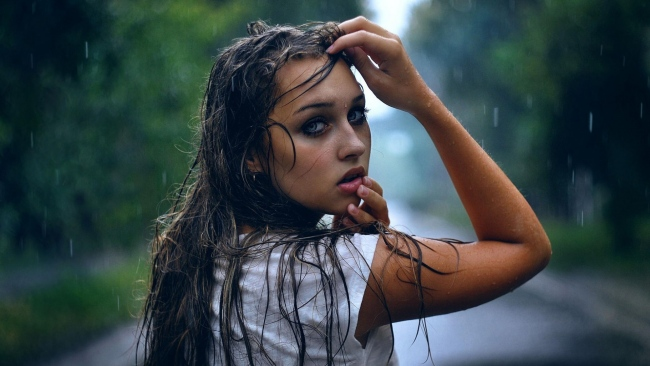 hd hintergrundbilder brünett augen gesicht regen tropfen