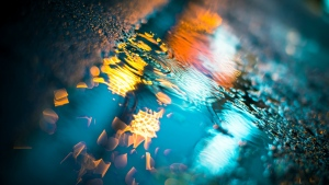 pfütze wasser reflexion asphalt beleuchtung