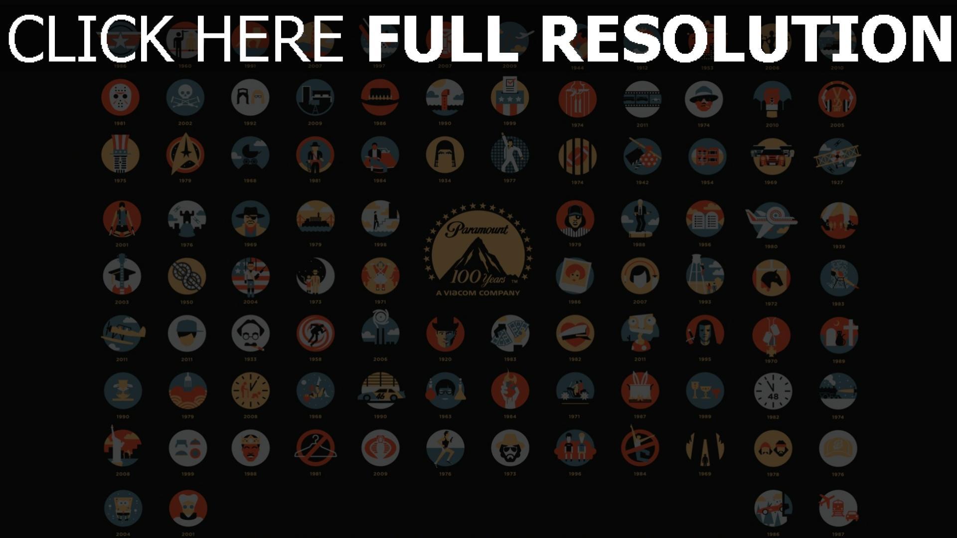 hd hintergrundbilder paramoumt jubiläum 100 jahre logos filme 1920x1080