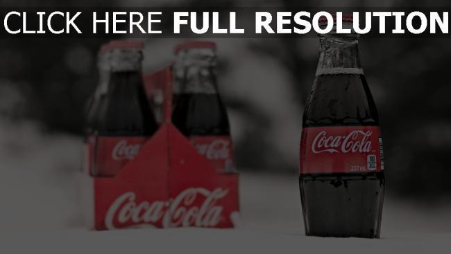 hd hintergrundbilder coca cola getränk schnee flaschen glas