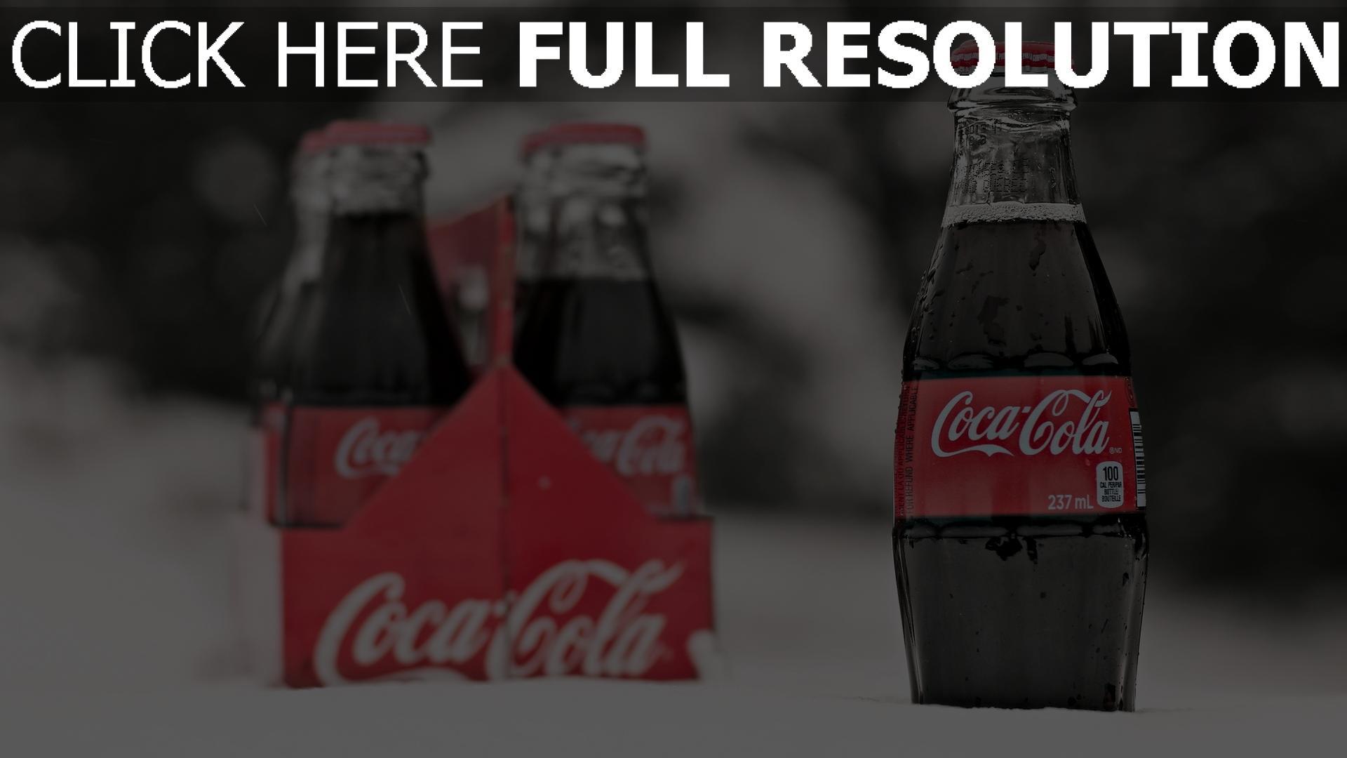 hd hintergrundbilder coca cola getränk schnee flaschen glas 1920x1080