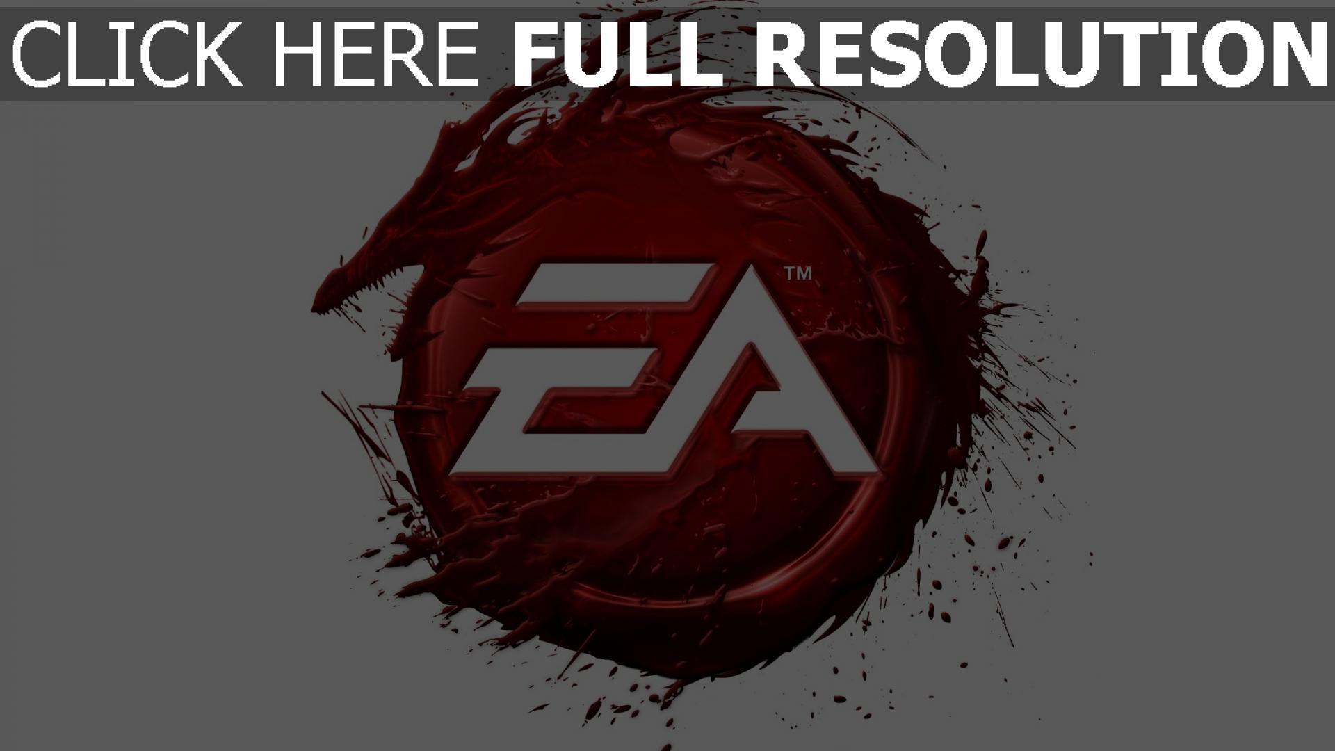 hd hintergrundbilder ea logo rot drache blut 1920x1080