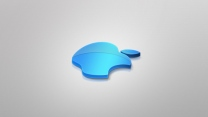 apple logo blau volumen grau emblem