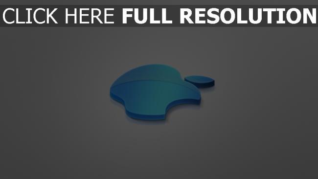 hd hintergrundbilder apple logo blau volumen grau emblem