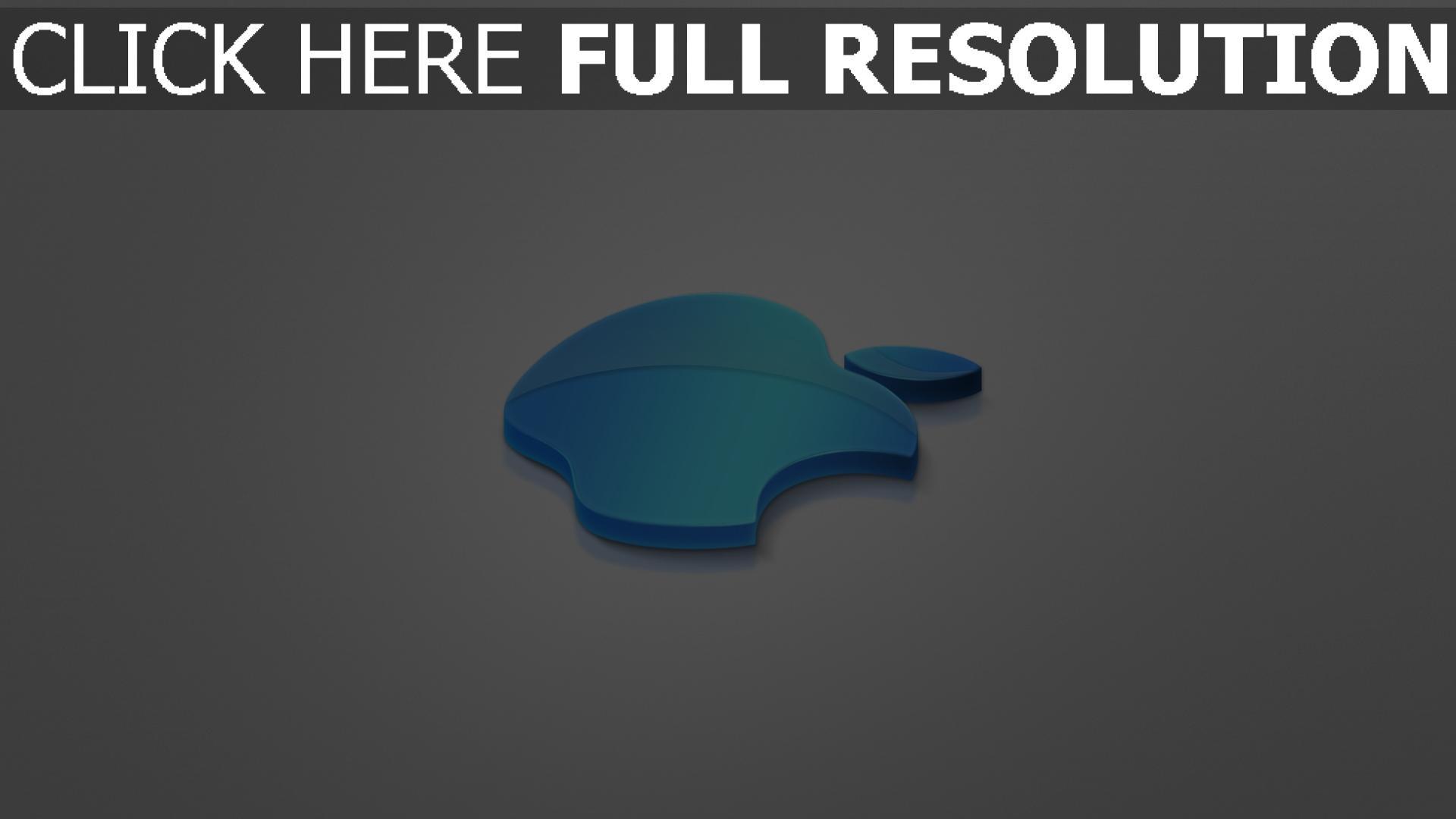 hd hintergrundbilder apple logo blau volumen grau emblem 1920x1080