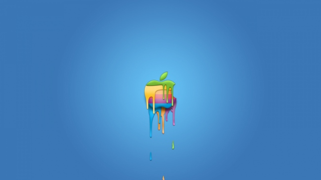 hd hintergrundbilder apple logo bunt blau symbol