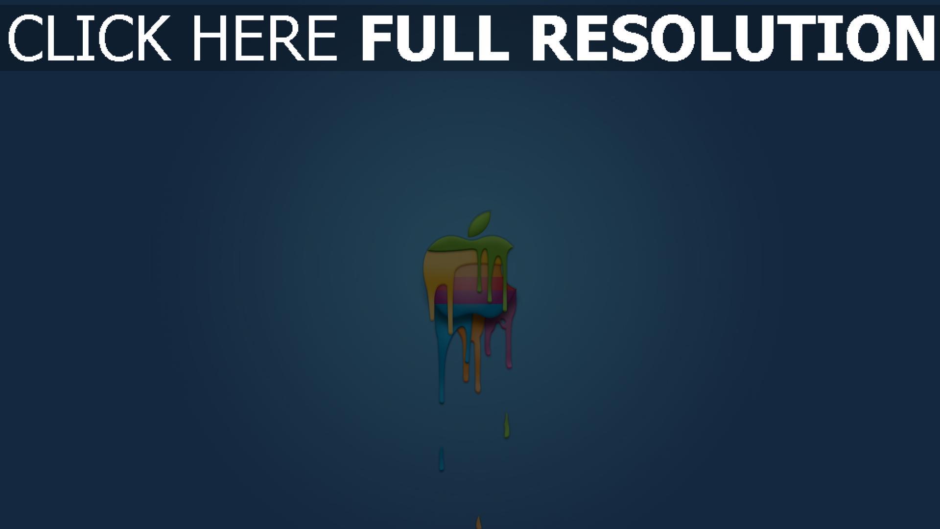 hd hintergrundbilder apple logo bunt blau symbol 1920x1080