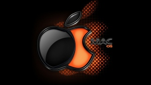 apple mac logo schwarzes orange volumen