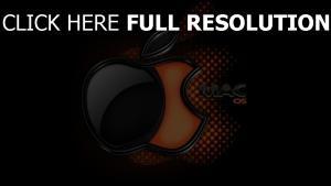 apple mac logo schwarzes orange volumen