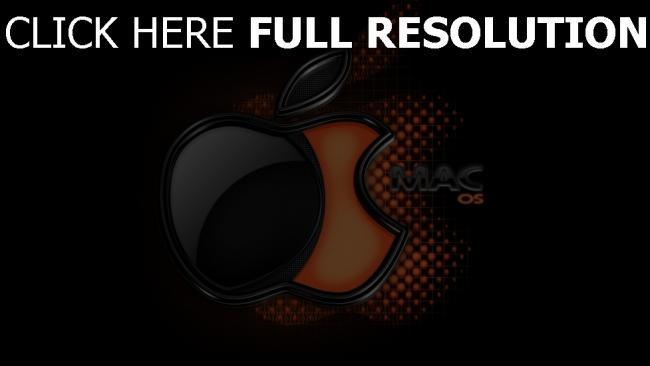 hd hintergrundbilder apple mac logo schwarzes orange volumen