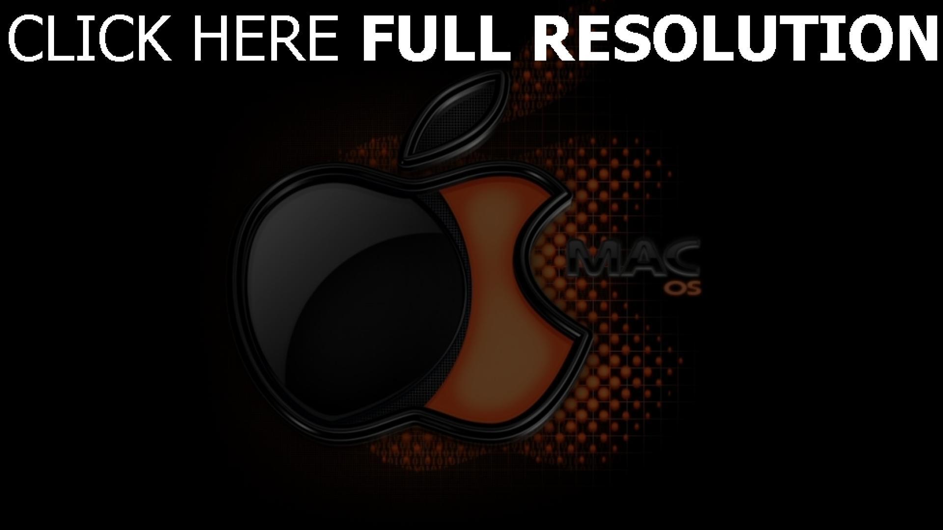 hd hintergrundbilder apple mac logo schwarzes orange volumen 1920x1080