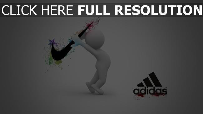 hd hintergrundbilder nike adidas konfrontation wettbewerb logos