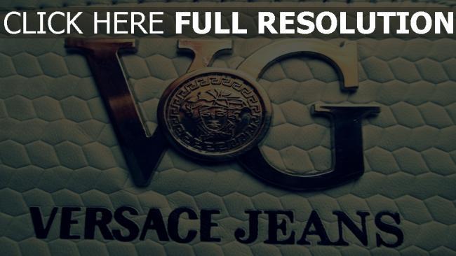 hd hintergrundbilder versace jeans logo form metall leder