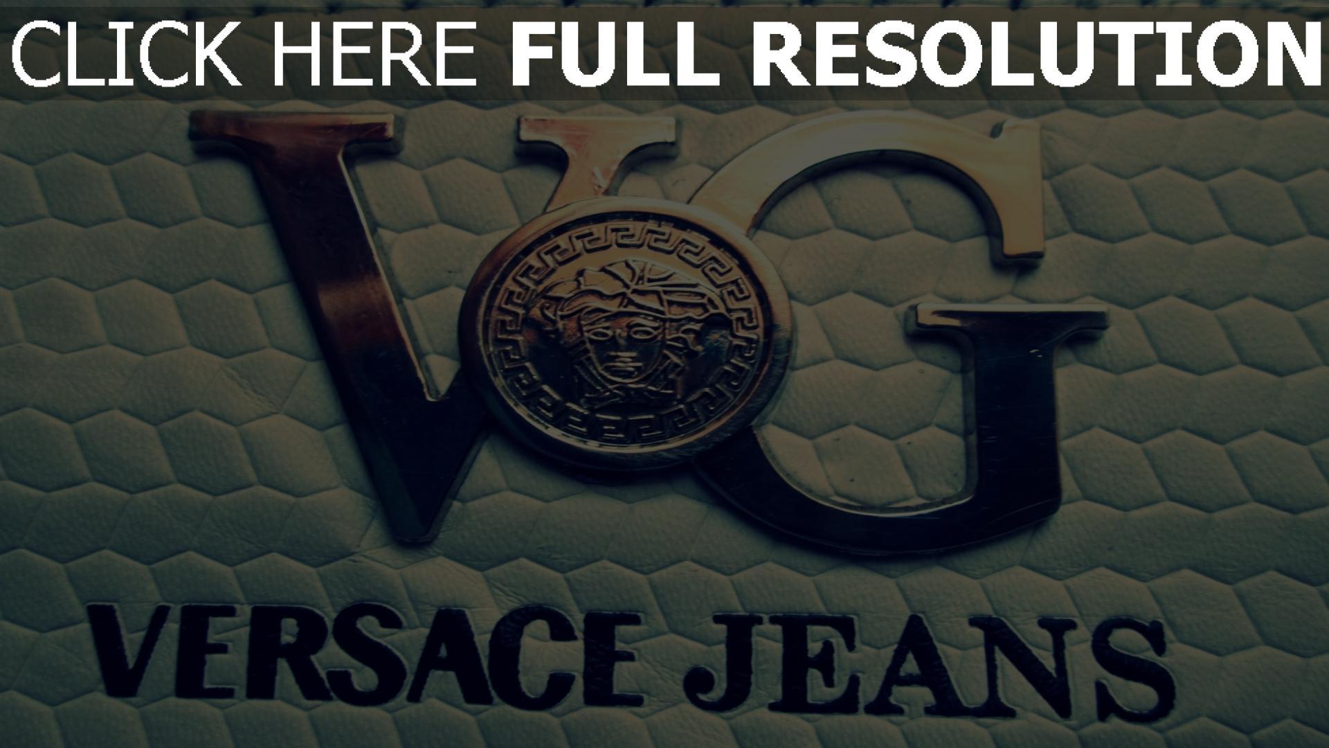 hd hintergrundbilder versace jeans logo form metall leder 1920x1080