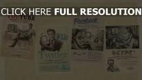 youtube twitter facebook skype soziale netzwerke retro