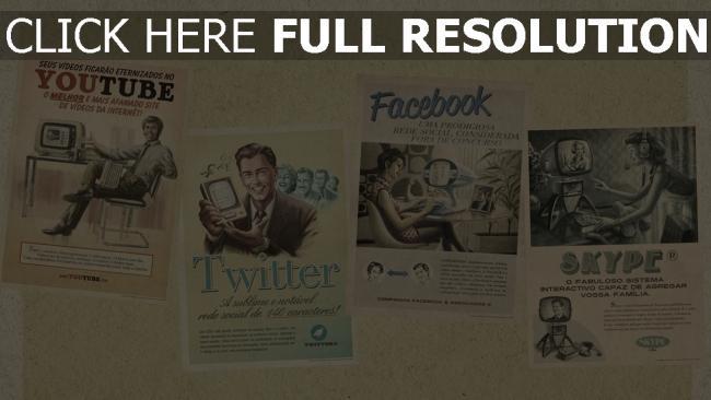 hd hintergrundbilder youtube twitter facebook skype soziale netzwerke retro