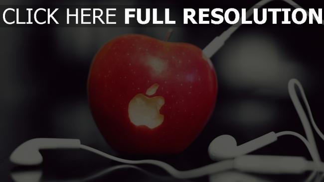 hd hintergrundbilder apple kopfhörer weiß logo obst