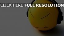 kopf lächeln freude kopfhörer schatten