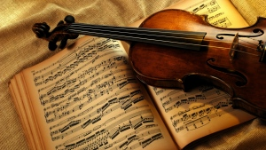 buch violine papier notizen streicher