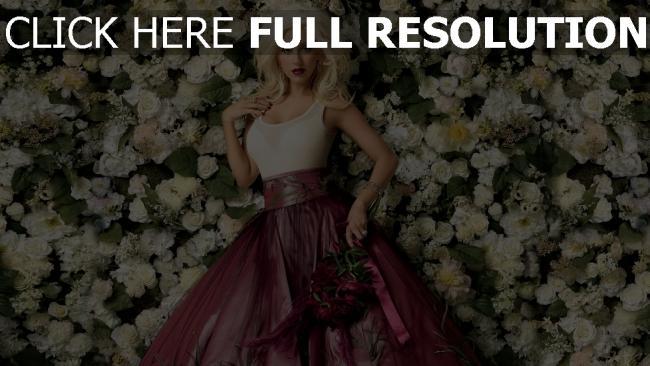 hd hintergrundbilder kleid christina aguilera blumen rosen lippenstift