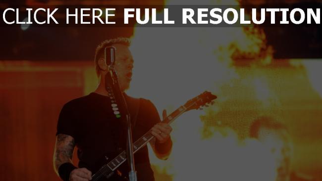 hd hintergrundbilder gitarrist metallica feuer show mikrofon