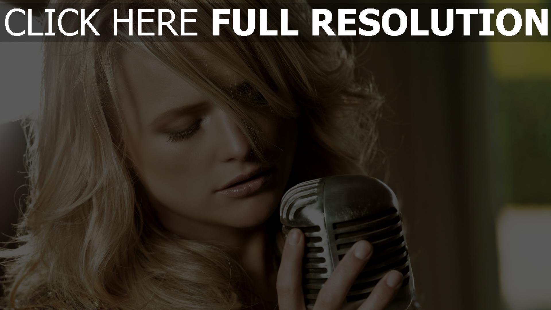 hd hintergrundbilder sängerin miranda lambert mikrofon mädchen blond 1920x1080