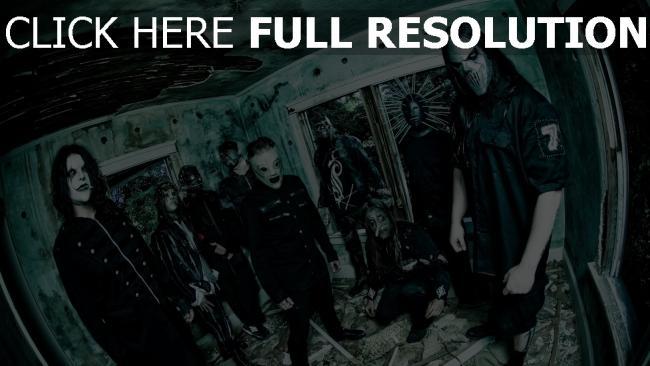 hd hintergrundbilder band slipknot masken mitglieder raum