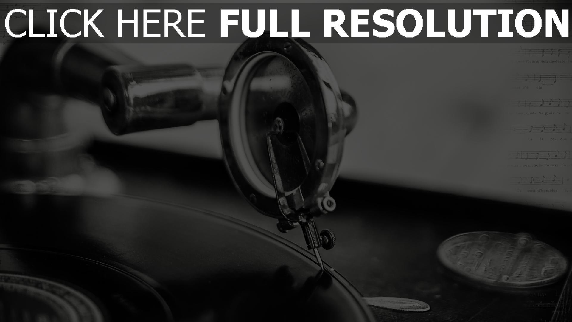 Extrem HD Hintergrundbilder musik vinyl-plattenspieler schwarz-weiß  WP69