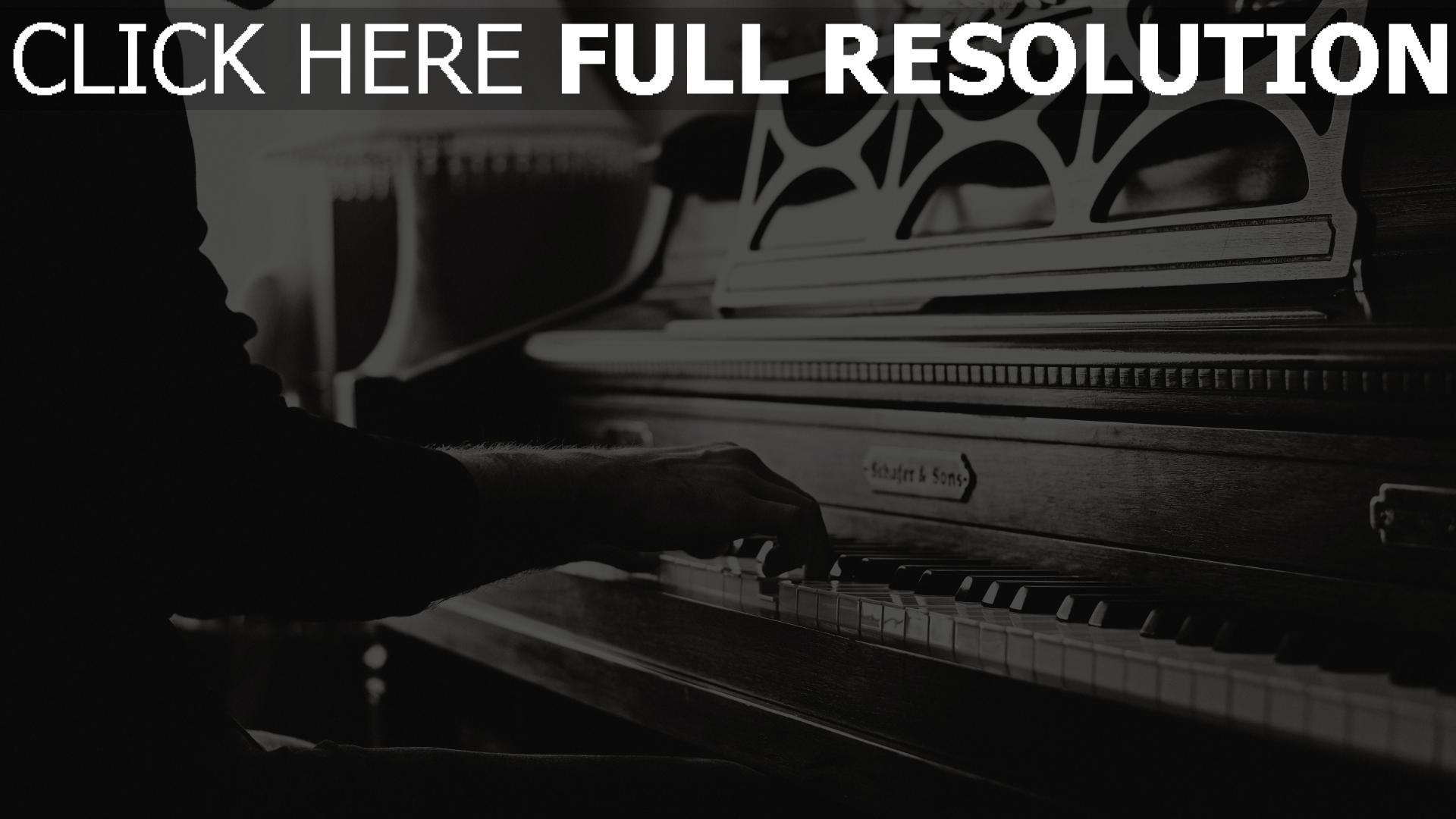 Schön HD Hintergrundbilder hände vintage klavier schwarz-weiß musik  CT48