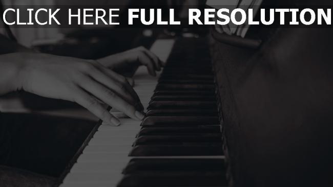 hd hintergrundbilder tasten klavier hände schwarz-weiß