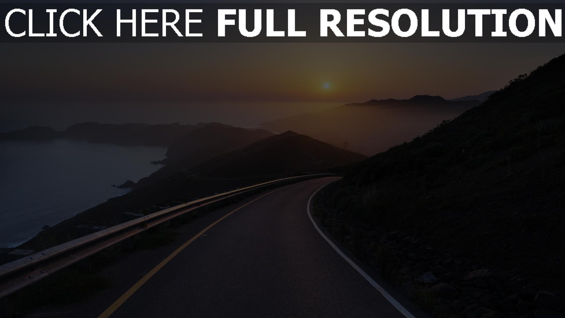 hd hintergrundbilder sonnenuntergang sonne straße berge bucht nebel 1920x1080