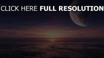 sonnenuntergang meer planet himmel