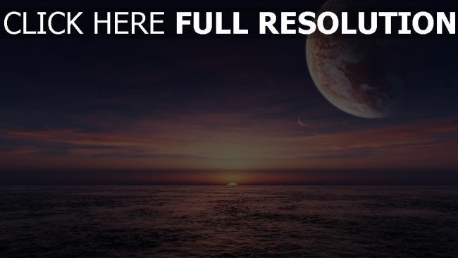 hd hintergrundbilder sonnenuntergang meer planet himmel