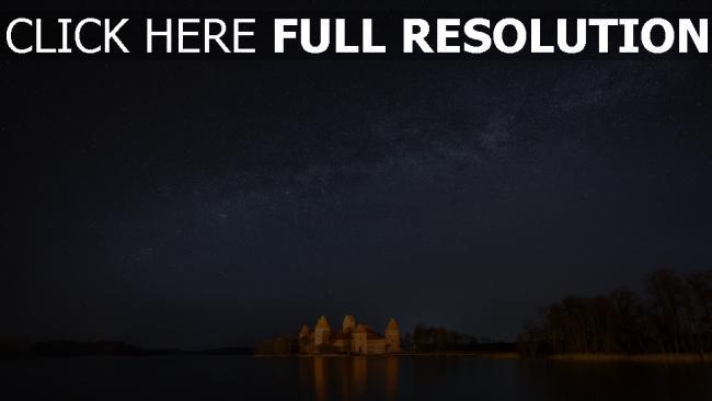 hd hintergrundbilder see schloss himmel sterne nacht
